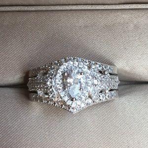 Jewelry - ❤️3pcs 925 Silver Engagement Ring Wedding Band Set
